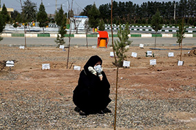 An image of a grieving Iranian woman